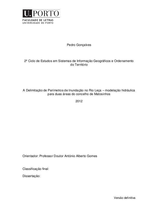 FACULDADE DE LETRAS UNIVERSIDADE DO PORTO Pedro Gonçalves 2º Ciclo de Estudos em Sistemas de Informação Geográficos e Orde...