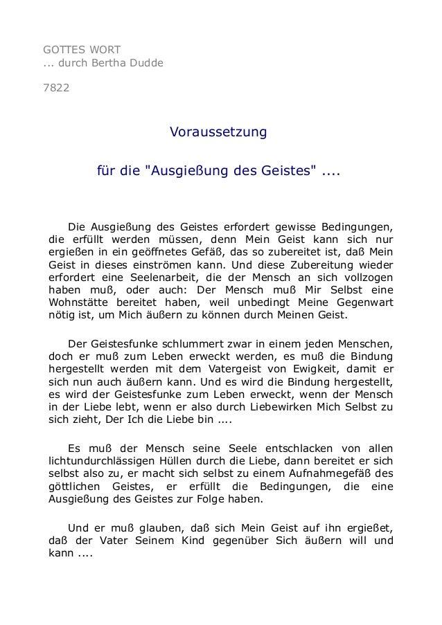 """GOTTES WORT ... durch Bertha Dudde 7822 Voraussetzung für die """"Ausgießung des Geistes"""" .... Die Ausgießung des Geistes erf..."""