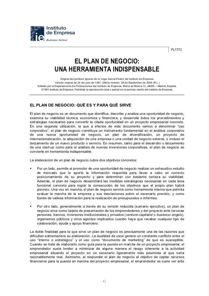 PL17/72                       EL PLAN DE NEGOCIO:                  UNA HERRAMIENTA INDISPENSABLE                        Or...