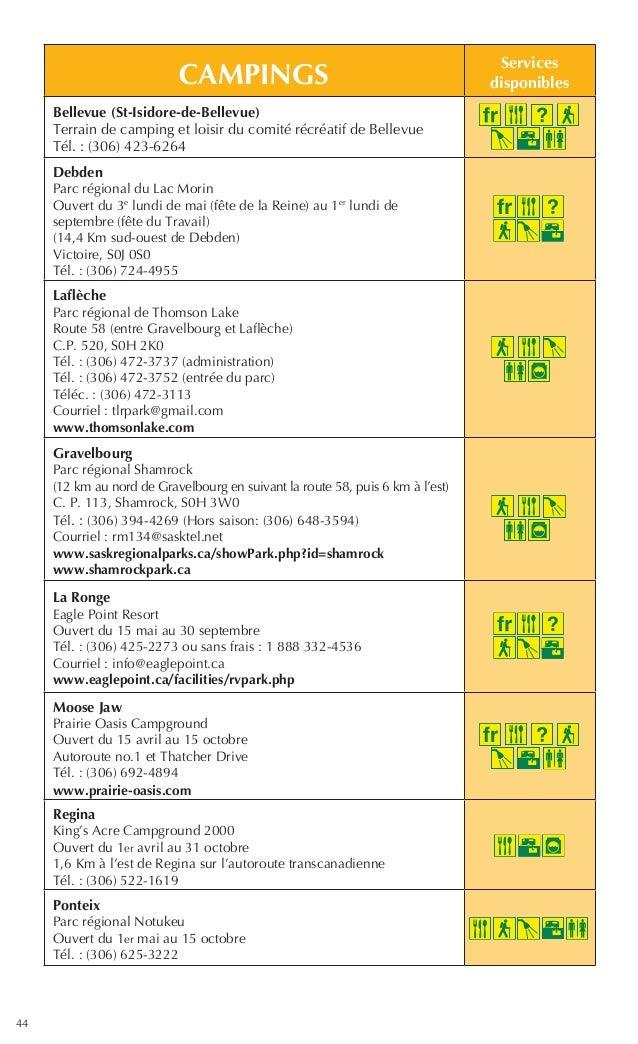 44 CAMPINGS Services disponibles Bellevue (St-Isidore-de-Bellevue) Terrain de camping et loisir du comité récréatif de Bel...
