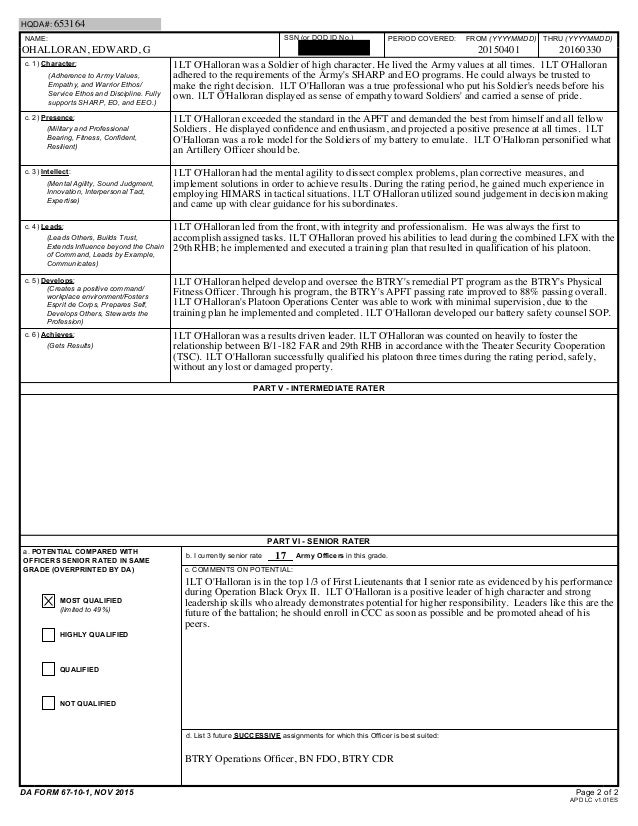 ohalloran-companygradereport-2-638 Oer Support Form Example on major performance objectives, army evaluation, army bn xo, presence bullet, for lno, filled out, military chaplain, for intelligence, us army,