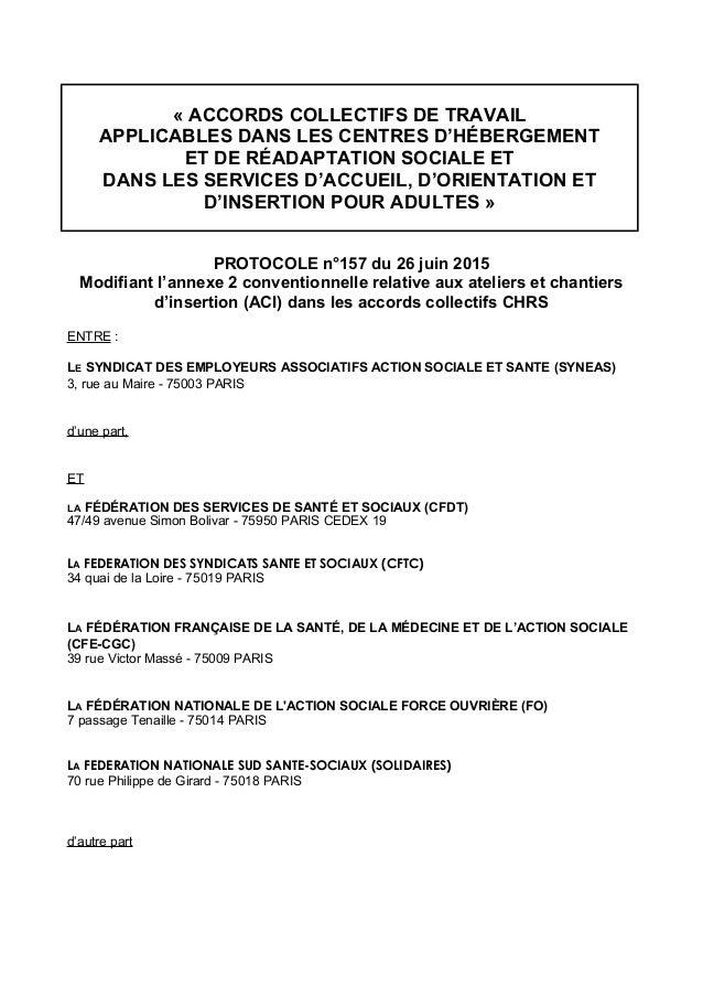 « ACCORDS COLLECTIFS DE TRAVAIL APPLICABLES DANS LES CENTRES D'HÉBERGEMENT ET DE RÉADAPTATION SOCIALE ET DANS LES SERVICES...