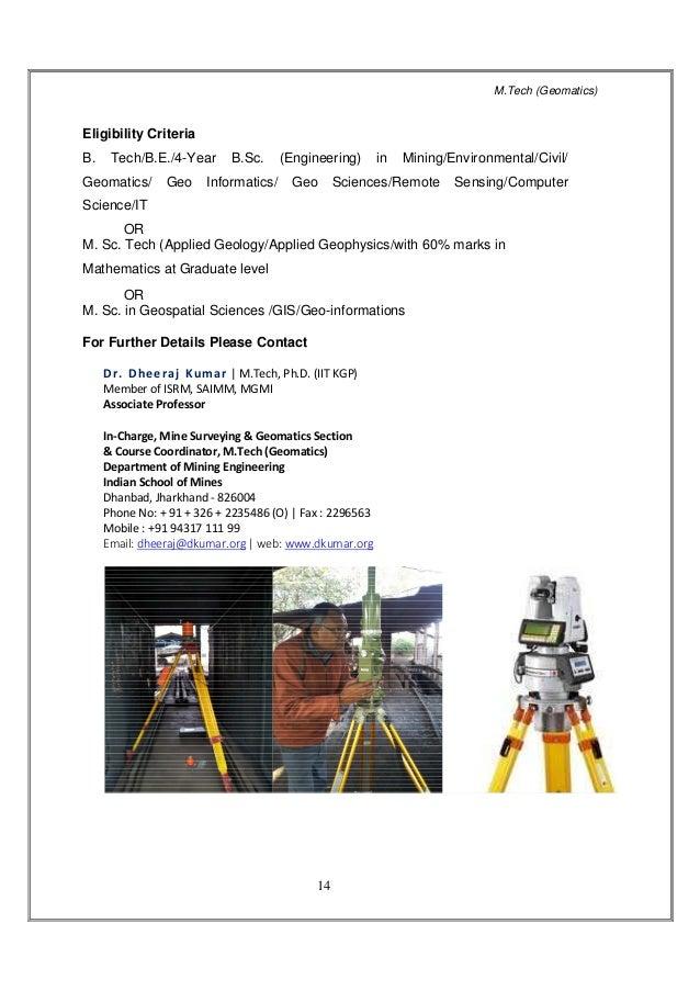 M Tech Geomatics Course Brochure