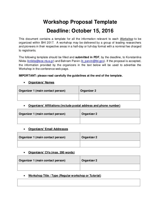 workshop proposal template deadline october 15 2016 this document contains a template for all