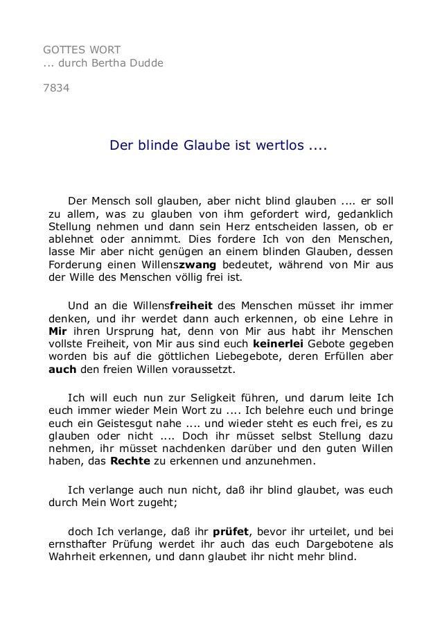 GOTTES WORT ... durch Bertha Dudde 7834 Der blinde Glaube ist wertlos .... Der Mensch soll glauben, aber nicht blind glaub...