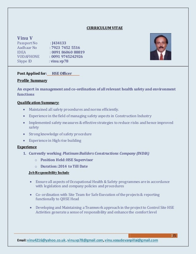 project officer cv canre klonec co