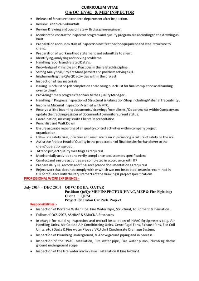 electrical qc inspector resume eliolera
