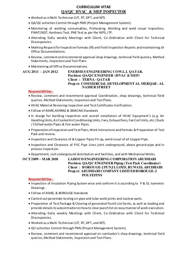 CURRICULUM VITAE QA/QC HVAC U0026 MEP INSPECTOR ...