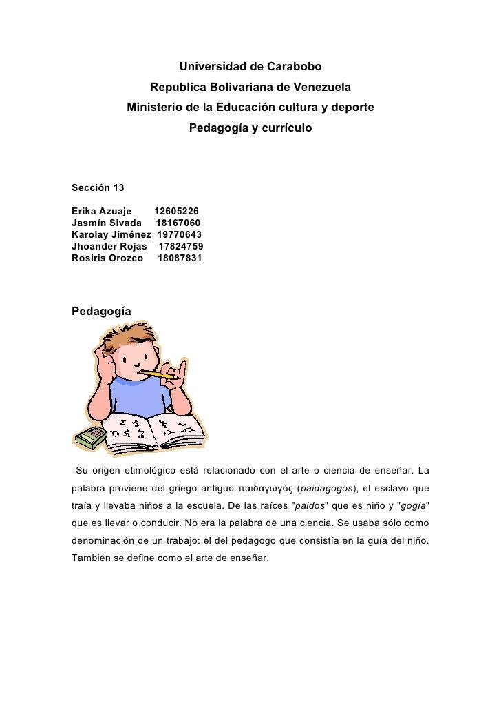 Universidad de Carabobo                  Republica Bolivariana de Venezuela              Ministerio de la Educación cultur...