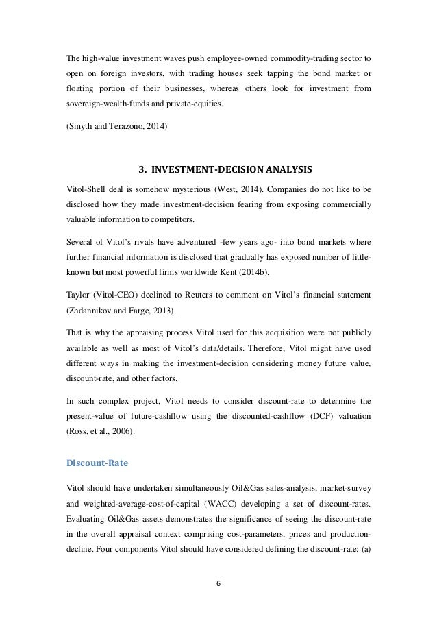 MBA, Corporate Finance - Investment Decision VITOL holding Case