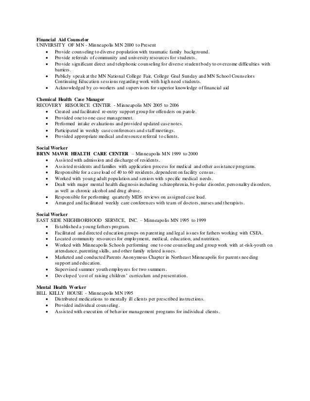 Washburn Center School Based Therapist Resume