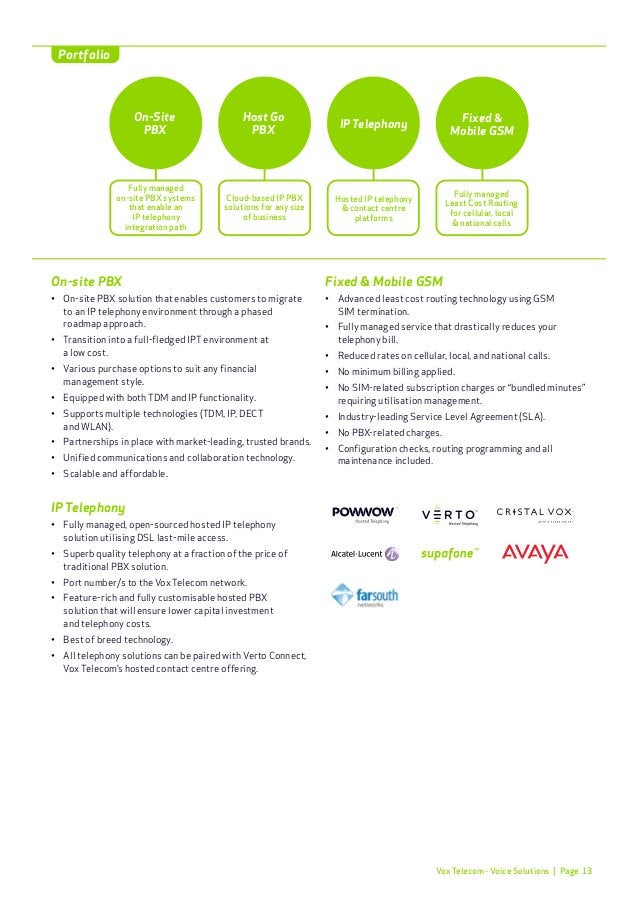 Page 16 Vox Telecom's comprehensive range of outsourced infrastructure services offer a highly customised, reliable IT inf...