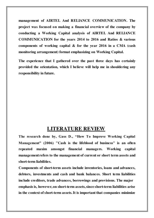 review of literature for working capital management Impact of working capital management on firms' performance: review of literature measurement of working capital management.