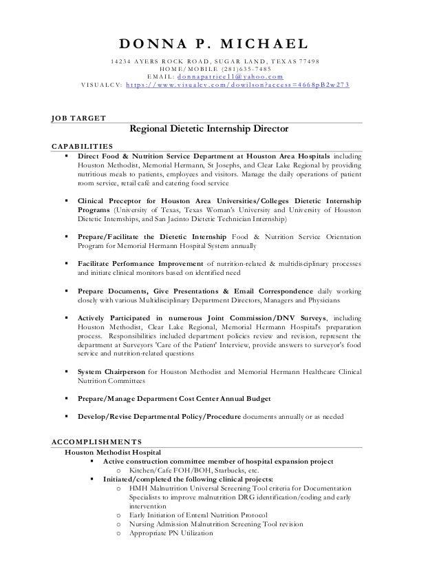 resume regional dietetic internship director