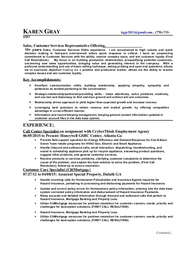 karen gray resume sale customer services
