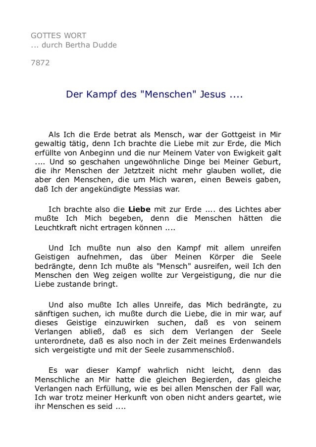 """GOTTES WORT ... durch Bertha Dudde 7872 Der Kampf des """"Menschen"""" Jesus .... Als Ich die Erde betrat als Mensch, war der Go..."""