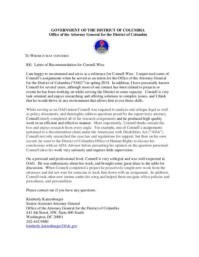 Oag Letter Of Recommendation For Connell Wise General