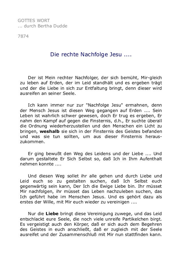 GOTTES WORT ... durch Bertha Dudde 7874 Die rechte Nachfolge Jesu .... Der ist Mein rechter Nachfolger, der sich bemüht, M...