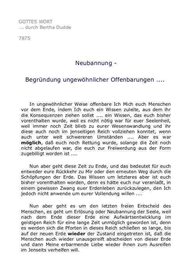 GOTTES WORT ... durch Bertha Dudde 7875 Neubannung - Begründung ungewöhnlicher Offenbarungen .... In ungewöhnlicher Weise ...