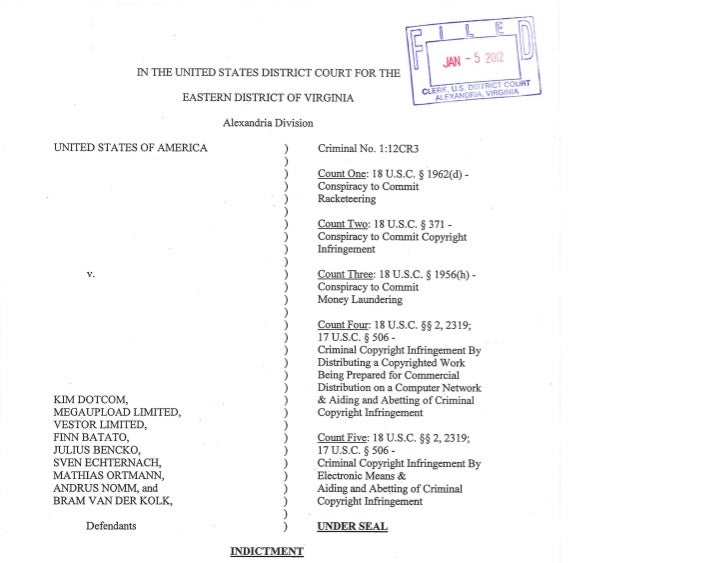 GENERAL ALLEGATIONS       At all times relevant to this Indictment:       1.      KIM DOTCOM, MEGAUPLOAD LIMITED, VESTOR L...