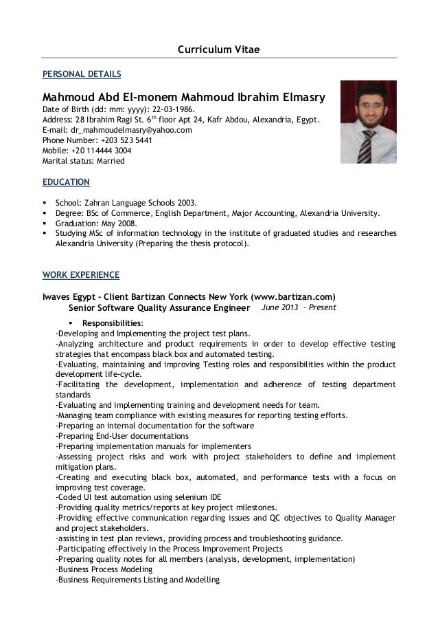 mahmoud elmasry cv senior software quality assurance