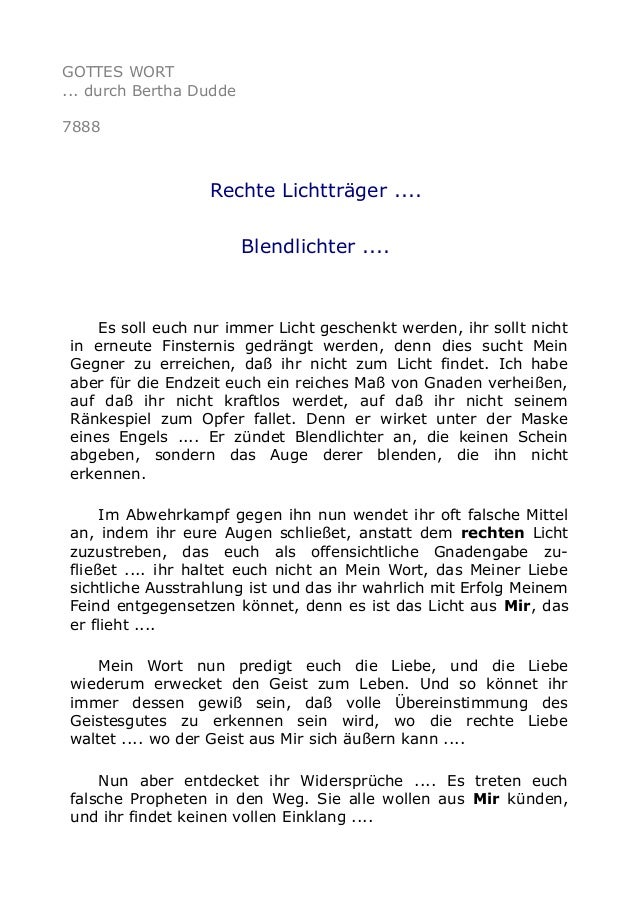 GOTTES WORT ... durch Bertha Dudde 7888 Rechte Lichtträger .... Blendlichter .... Es soll euch nur immer Licht geschenkt w...