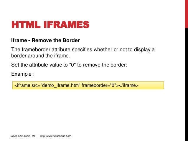 HTML IFRAMES Iframe - Remove the Border The frameborder ...