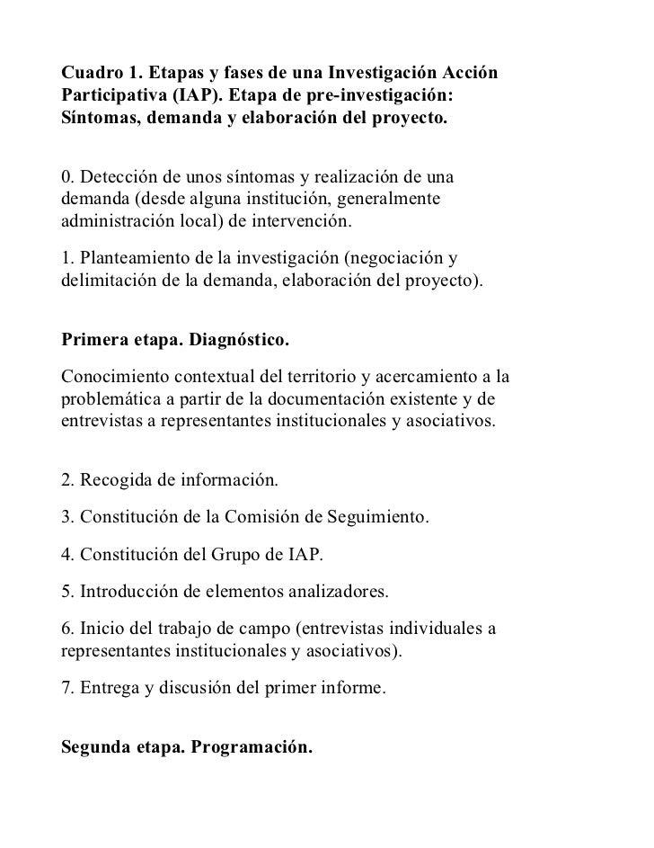 Cuadro 1. Etapas y fases de una Investigación AcciónParticipativa (IAP). Etapa de pre-investigación:Síntomas, demanda y el...