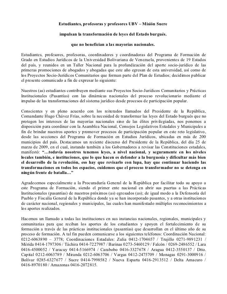 Estudiantes, profesoras y profesores UBV – Misión Sucre                     impulsan la transformación de leyes del Estado...