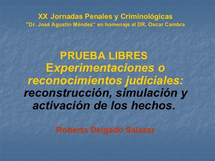 """XX   Jornadas Penales y Criminológicas """" Dr. José Agustín Méndez"""" en homenaje al DR. Oscar Cambra PRUEBA LIBRES   E xperim..."""