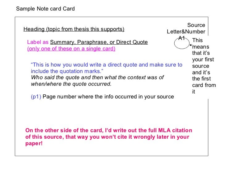 Sample Note card Card Heading (topic from thesis this supports) Label as  Summary, Paraphrase, or Direct Quote  (only one ...