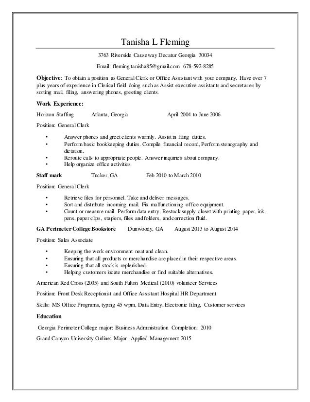 resume clerical skills