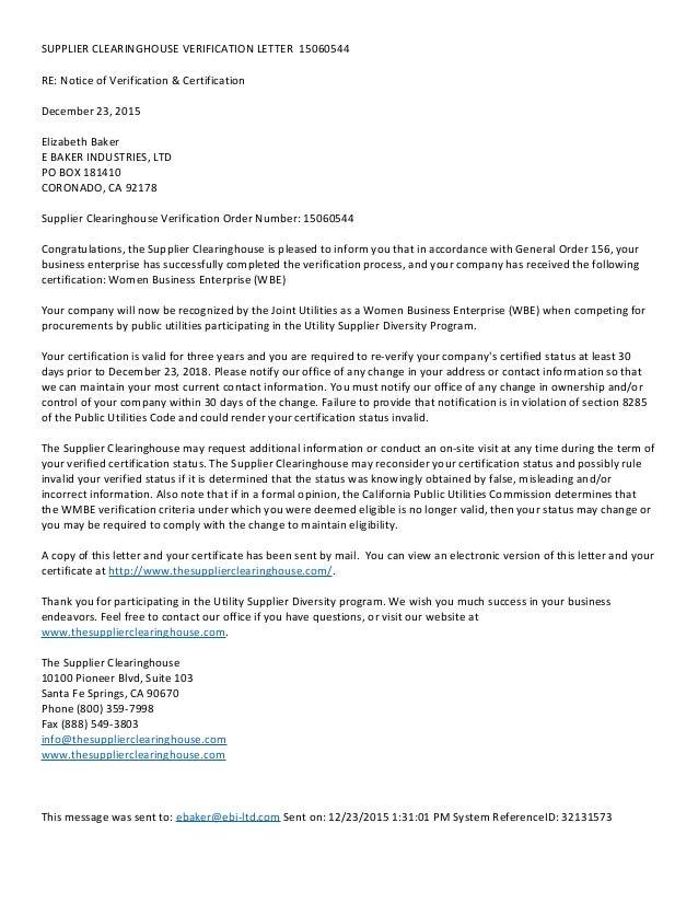 Ebi Supplier Clearinghouse Verification Letter 15060544