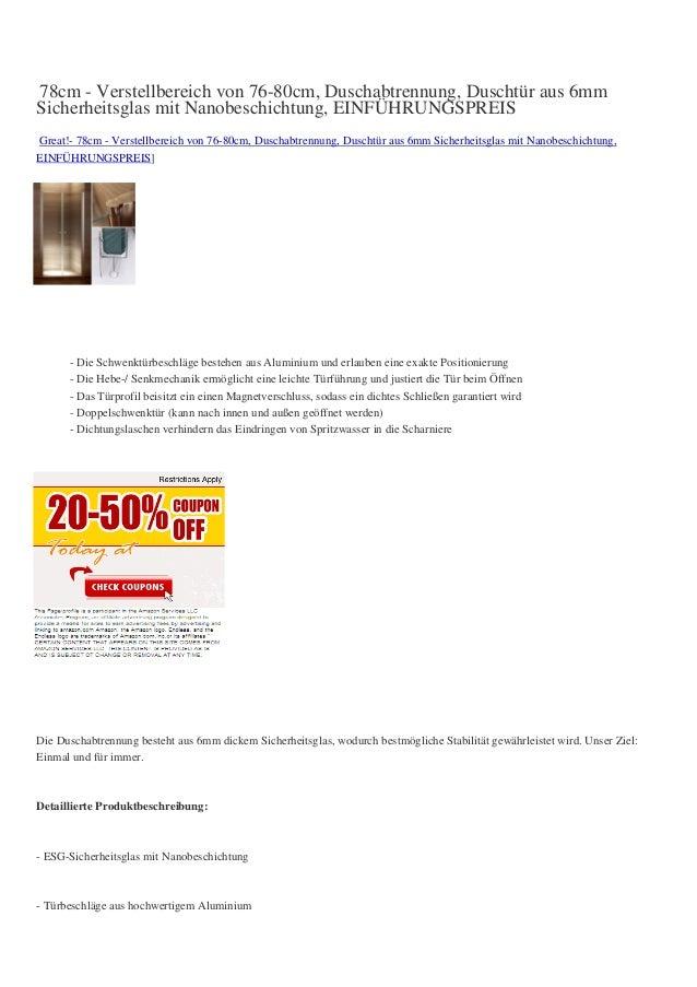 78cm - Verstellbereich von 76-80cm, Duschabtrennung, Duschtür aus 6mmSicherheitsglas mit Nanobeschichtung, EINFÜHRUNGSPREI...