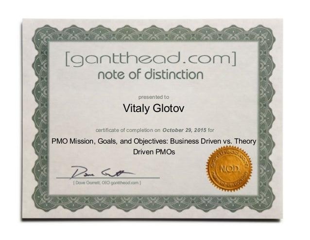 certificate mission pmo proxima