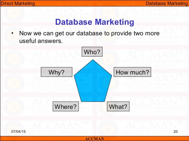 data base marketing Leverage experian marketing services' powerful consumer data to learn more about your customers, drive new business, and deliver intelligent interactions across all channels consumerview can take your business to the next level with thousands of data attributes available, such as.