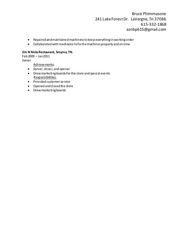 bruce phimmasone resume  current