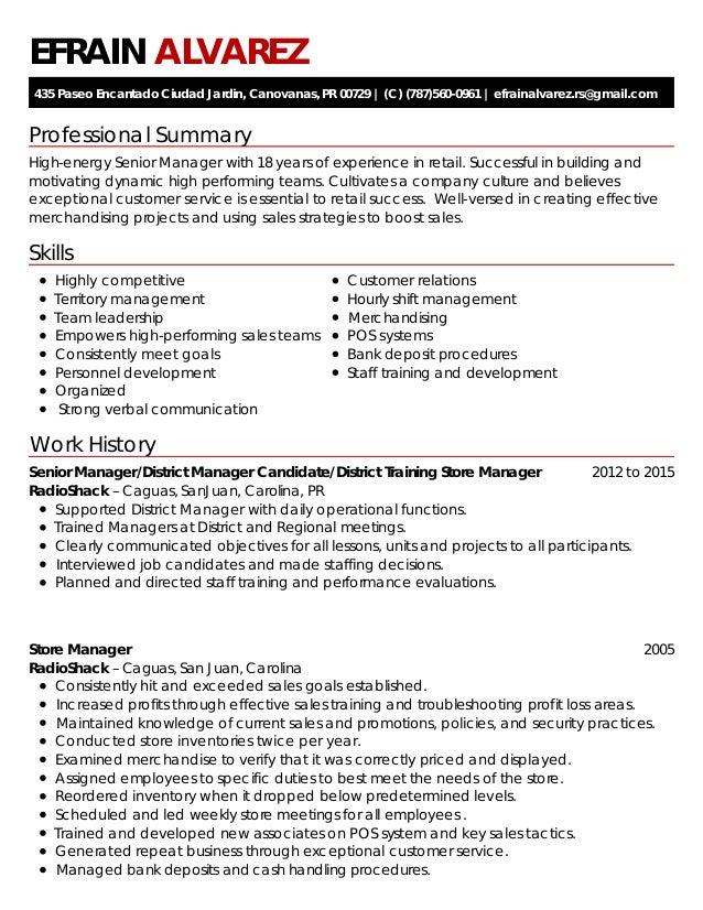 professional summary skills work history efrain alvarez 435 paseo encantado ciudad jardin canovanas - Skills For Resume Manager Craft Store