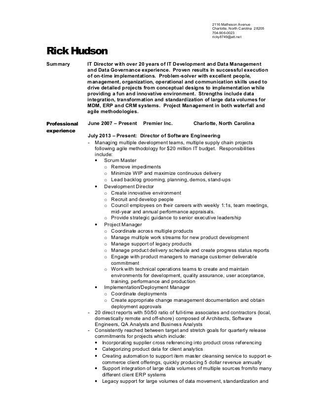 rick hudson resume august 2015