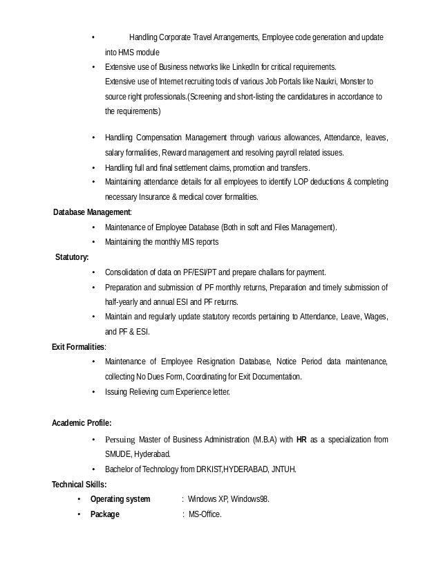 lakshmi hr resume