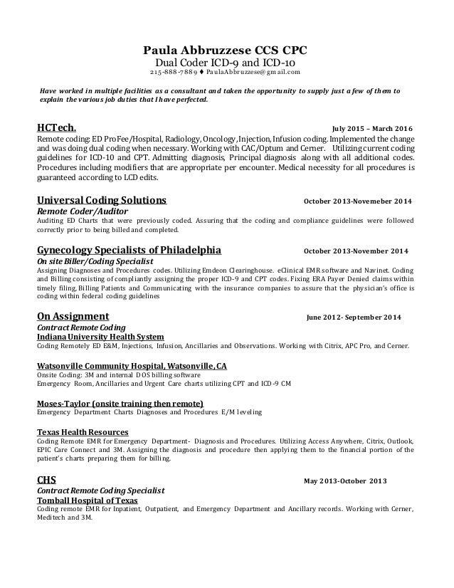 resume june 2016 complete rh slideshare net Inpatient Coding Examples E M Coding HPI