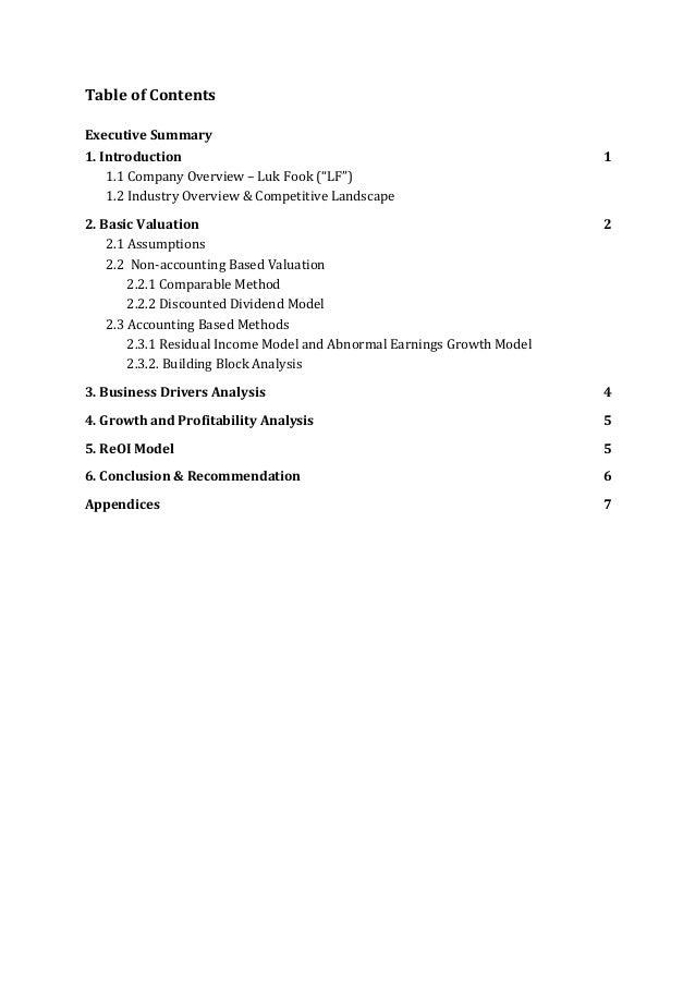 "TableofContents  ExecutiveSummary 1.Introduction 1 1.1CompanyOverview–LukFook(""LF"")  1.2IndustryOvervie..."
