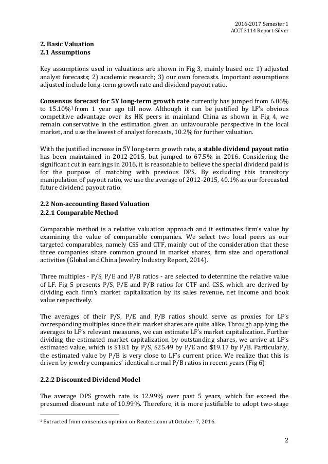 2016-2017Semester1 ACCT3114Report-Silver 2 2.BasicValuation 2.1Assumptions  Keyassumptionsusedinvaluation...