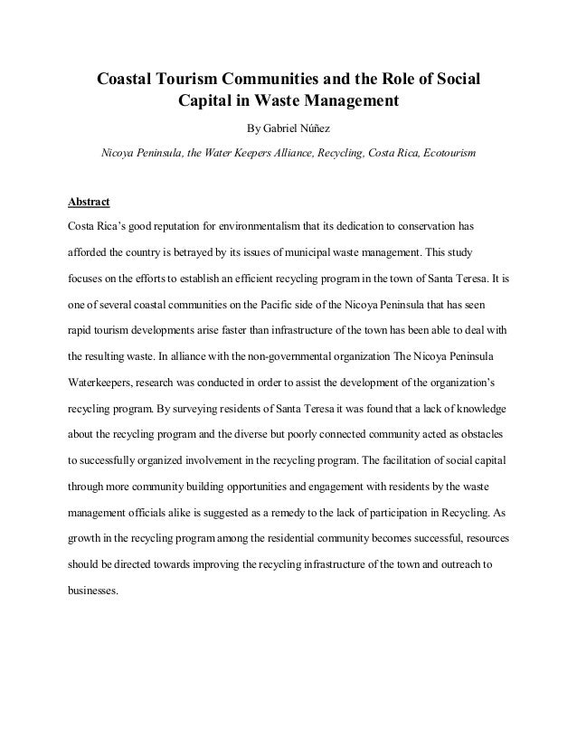 Coastal Tourism Communities and the Role of Social Capital in Waste M…