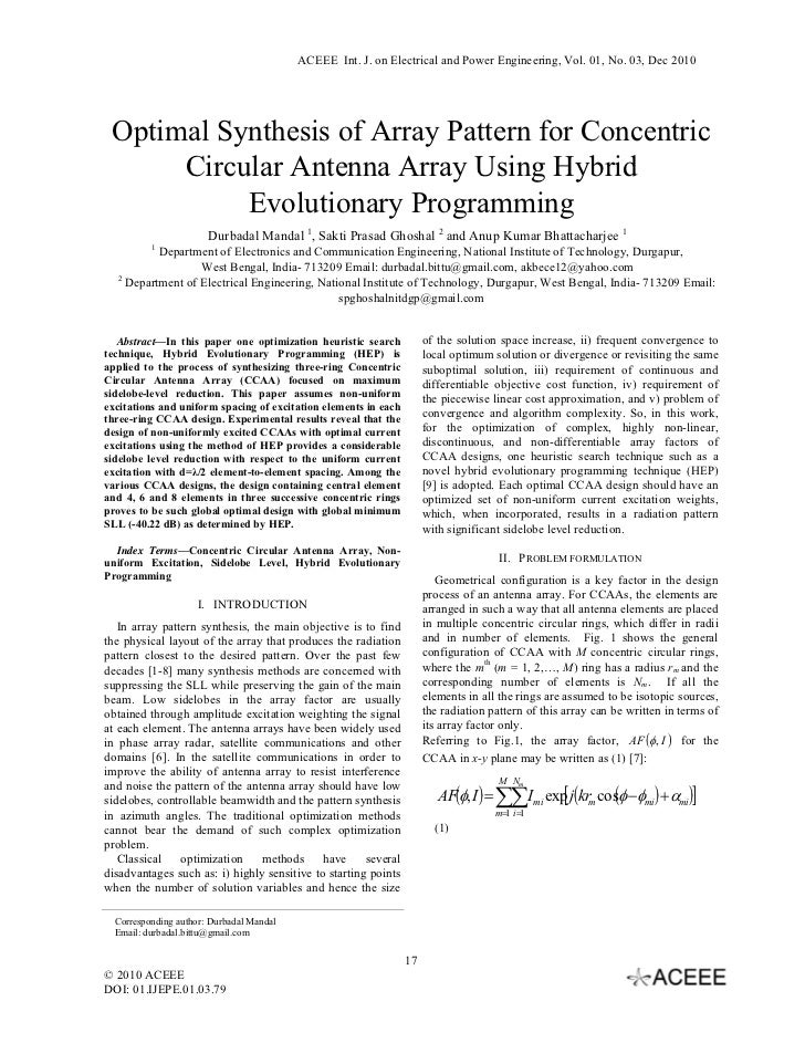 ACEEE Int. J. on Electrical and Power Engineering, Vol. 01, No. 03, Dec 2010 Optimal Synthesis of Array Pattern for Concen...