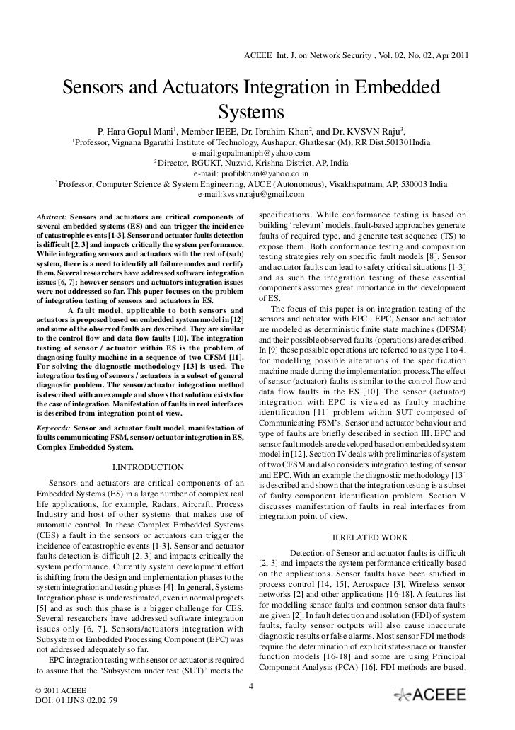 ACEEE Int. J. on Network Security , Vol. 02, No. 02, Apr 2011        Sensors and Actuators Integration in Embedded        ...