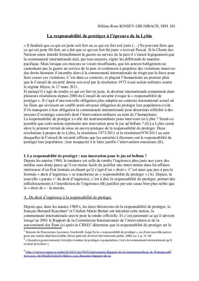 Hélène-Rose KINSEY-GRUMBACH, DIH. M1 La responsabilité de protéger à l'épreuve de la Lybie « Il faudrait que ce qui est ju...