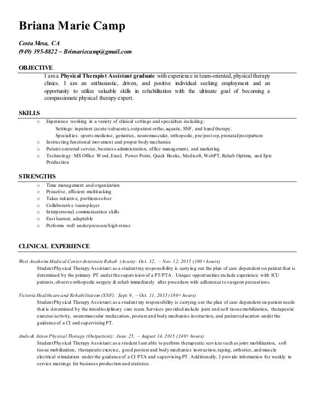 bc pta resume 2016 briana marie camp costa mesa ca 949 395 - Physical Therapist Assistant Resume