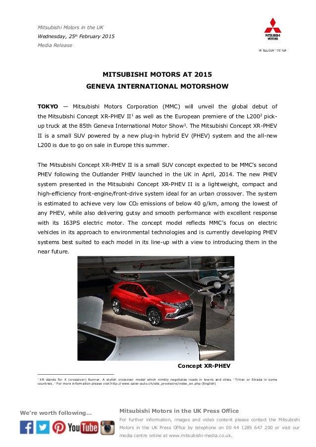 Mitsubishi Concept Xr Phev Ii And L200 At 2015 Geneva