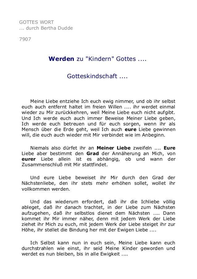 """GOTTES WORT ... durch Bertha Dudde 7907 Werden zu """"Kindern"""" Gottes .... Gotteskindschaft .... Meine Liebe entziehe Ich euc..."""
